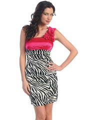 Zebra Print Short Prom Dress