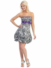 Zebra Satin Dress with Bubble hem