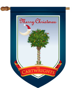 Christmas Palm Tree with Lights Monogrammed House Flag