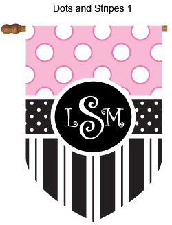 Dots and Stripes Monogrammed House Flags