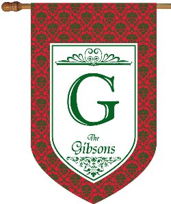 Red and Green Damask Monogram House Flag