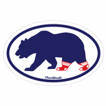 Bear Socks On Oval Sticker