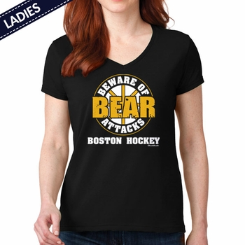 Beware Of Bear Attacks Boston Hockey T-Shirt