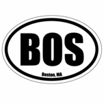 ''BOS'' Sticker White/Black Classic Boston