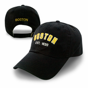 Boston Black Washed Adjustable Cap (Black/Gold Logo)