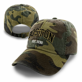Boston Camo Washed Adjustable Cap (Black/Gold Logo)