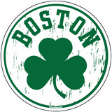 Boston Distressed Shamrock Circle Sticker