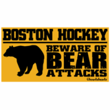 Boston Hockey - Beware Of Bear Attacks (Black Bear) Sticker