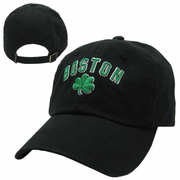 Boston Shamrock Black Adjustable Garment Wash Cap