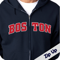 Boston Sweatshirt Hooded - Navy Zip Up Hoodie with Red Block Screen Print