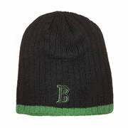 "Boston Winter Beanie - Black & Green ""B"""