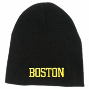 Boston Winter Beanie Hat Black And Gold