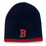 "Boston Winter Beanie - Navy & Red ""B"""