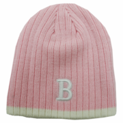 "Boston Winter Beanie - Pink & White ""B"""