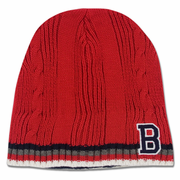 "Boston Winter Beanie - Red & Navy ""B"" Knit"