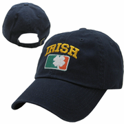 Irish Shamrock Navy Garment Wash Adjustable Cap
