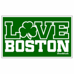 Love Boston Shamrock Sticker