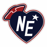 New England Footbal Heart Sticker