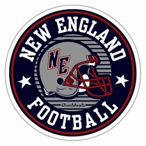 New England Football Round Sticker