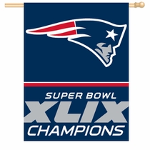 New England Patriots Superbowl Champs 27x37 Vetical Flag