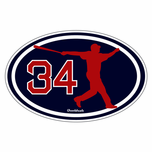 Number 34 Oval Sticker