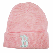 "Red Sox Pink Winter Hat Cuffed (White ""B"")"