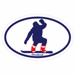 Sox Fan Snowboarder Oval Sticker