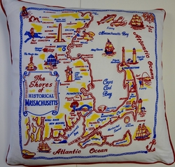 CT2 Screen printed cotton retro state of Massachusetts pillow cover