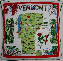 CT5  Screen printed cotton retro state of Vermont pillow cover