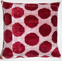 IKT135 100% silk velvet ikat pillow cover