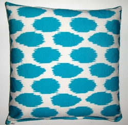 OC024 Cheeky Ikat Print Turquoise organic cotton pillow cover