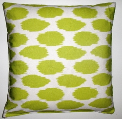 OC028 Cheeky Ikat Print Lime organic cotton pillow cover
