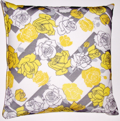 OC33 Printed organic cotton floral flamestitch pillow cover