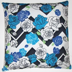 OC39 Printed organic cotton floral flamestitch pillow cover