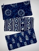 PCH1 Indigo block printed cotton pouches (set of 3)