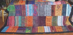 THVTG11 Hmong Hilltribe patchwork and embroidered throw