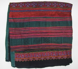 THVTG4 Hmong Hilltribe patchwork and embroidered throw