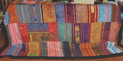 THVTG8 Hmong Hilltribe patchwork and embroidered throw