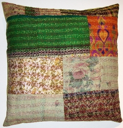 VTG10 Vintage sari patchworked kantha pillow cover