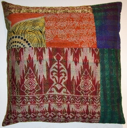 VTG12 Vintage sari patchworked kantha pillow cover