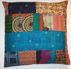 VTG9 Vintage sari patchworked kantha pillow cover