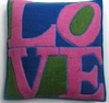 "WL004 Felted wool appliqued pillow cover 20""x20"""