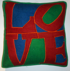 WL2  Appliqued felted wool pillow cover