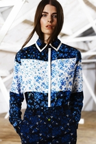 Preen Line kendal shirt blue flower patchwork