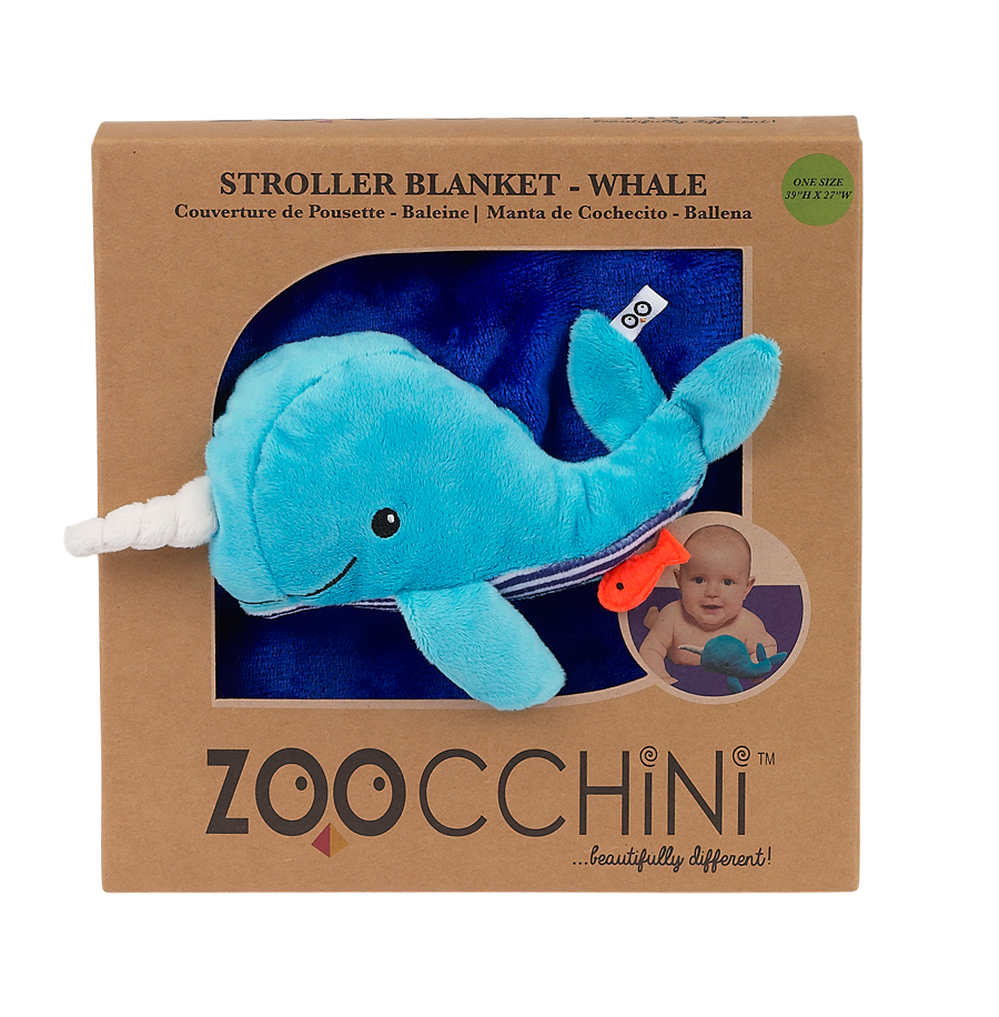 Soft Baby Blanket with Plush Toy -- Whale