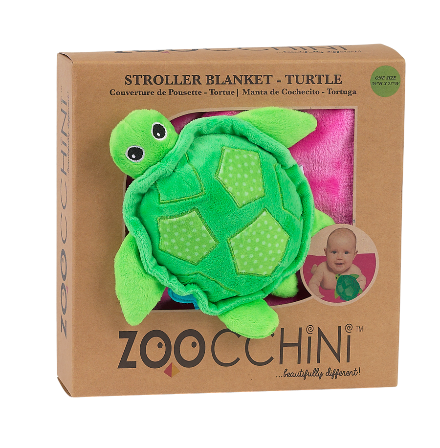 Soft Baby Blanket with Plush Toy -- Turtle