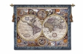 A New and Accurate Map - a Global Map with Ancient Astrological Signs Tapestry