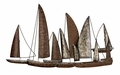 Ahoy Mate Fleet of Ships Metal Wall Sculpture