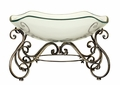 Catalina Scrolls Elegant Glass Bowl with Metal Stand