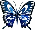Denim Blue Butterfly Metal Wall Decor Sculpture